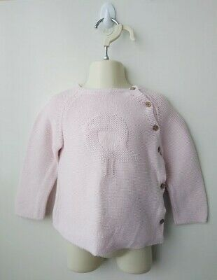SPROUT Girls Pink Thick Knit Cotton Jumper with bird & button details - Size 1