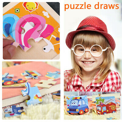 Baby Wooden Puzzle Jigsaw Cartoon Animal Toddler Early Learning Educational Toys