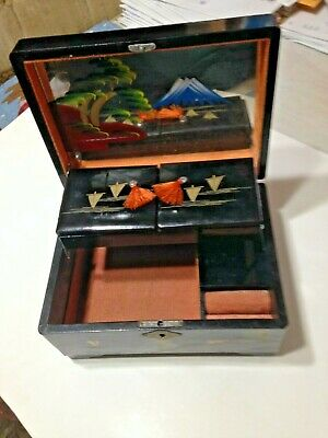 Vintage Black Lacquer Wood Jewelry Japan Music Box