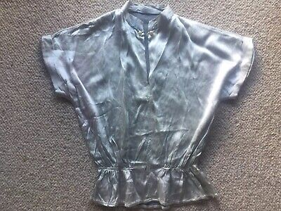 Vintage 1930s 1940s 1950s Silver Grey Silk Satin Top Blouse XS