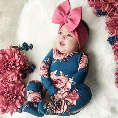 Jumpsuit+Leg Flower Print Romper Warmer Outfits Clothes Toddler Baby Girls
