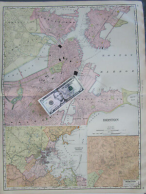 MA XXL 1901 BOSTON MASSACHUSETTS CITY Map. CHARLESTOWN, CAMBRIDGE, ROXBURY 1900s