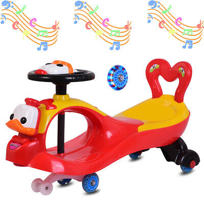 Swing Car Ride On Swivel Scooter Childrens Toy Kids Wiggle Gyro Twist Red Gift