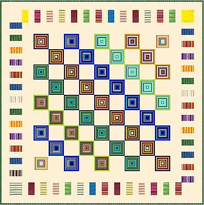 """ELECTRIC BOOGALOO - Cream- 83"""" - Quilt-Addicts Pre-cut Patchwork Quilt Kit Queen"""