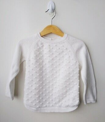 SPROUT White Cotton Knit Jumper - Size 2