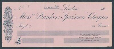 "Great Britain: 1870s ""Messrs Bankers"" NISSEN, PARKER & ARNOLD ""SPECIMEN"" CHEQUE"
