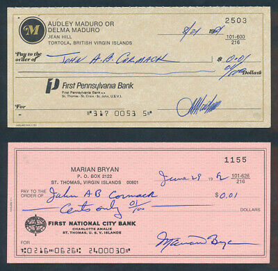 "Virgin Islands: 1980s First National City Bk & First Pennsylvania Bk ""2 CHEQUES"""