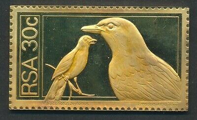 South Africa: 1973 30c Birds - Bokmakierie 45g Gilt Proof 925 Silver Stamp