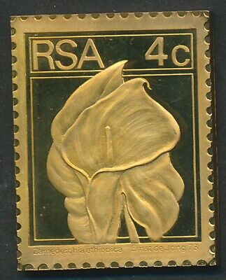 South Africa: 1973 4c Flower: Arum-lily 32g Gilt Proof 925 Silver Stamp