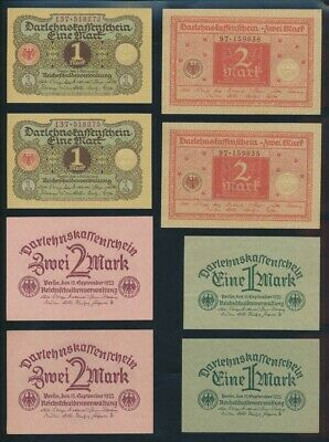 """Germany: Weimar Republic 1920-22 1 to 100 Mark """"2 OF EACH"""". P58-69b Cat UNC $107"""