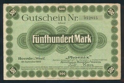 Germany: Weimer Republic PHOENIX AG 20-9-1922 500 Mark. Unlisted in Pick