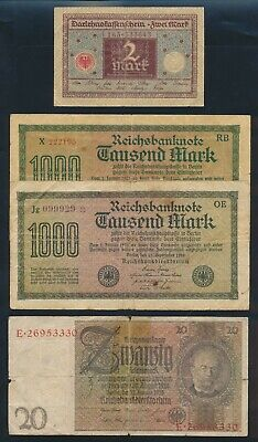 """Germany: Weimar Republic 1920-29 1 to 1000 Mark """"COLLN OF 4 LUCKY NOS"""". P60-181a"""