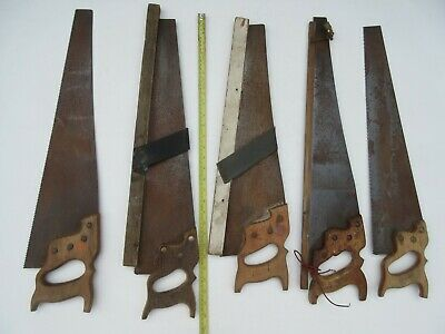 5 vintage unbranded carpenters saws one being Spear & Jackson