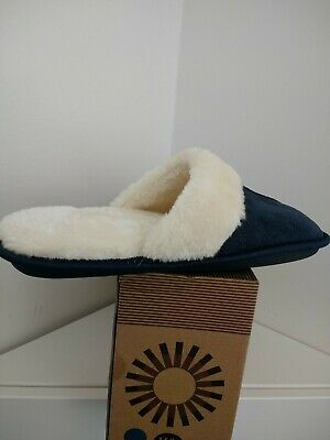 Memory Foam Casual Womens Slippers Navy Size M/L Rubber Sole Cushioned Support