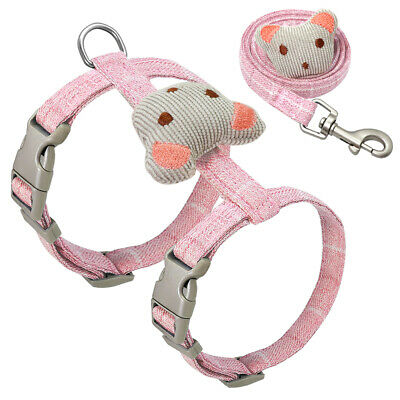 Cute Pink Cat Harness and Leads for Walking Escape Proof Adjustable Kitten Vest