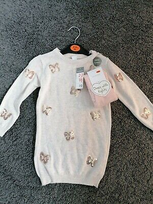 Girls Jumper Dress With Tights New 2-3 Years