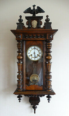 Antique Victorian Vienna Striking Wall Clock Haller 8 Day Movement Eagle Finial