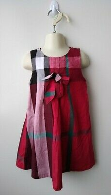 BURBERRY Imitation Girls Red Check Dress with bow - Size M (2-3)
