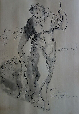 Antique European Old Master Ink wash drawing, Portrait study, Classical Fine art