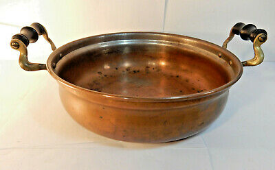 Antique Manning Bowman Copper Pot with Brass/ Wood Handles Made in USA