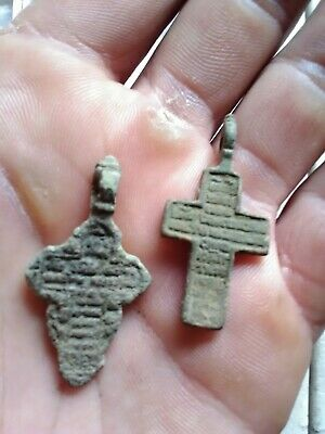 Pair of Authentic Byzantine Cross Pendant Late Medieval Artifact metal detecting