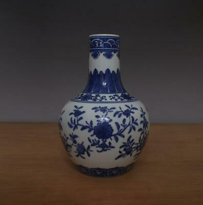 Qianlong Signed Antique Chinese Blue & White Porcelain Vase w/ Flower