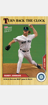 2020 TOPPS NOW TURN BACK THE CLOCK MARINERS RANDY JOHNSON #1 14 Ks IN MARCH