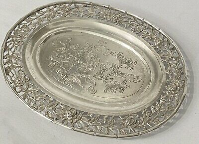 Antique Luen Wo Chinese Export Sterling Silver Pin/card Tray