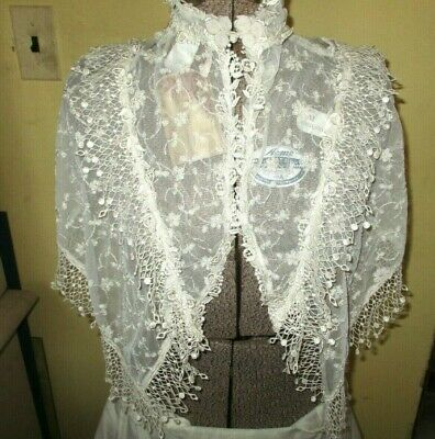 Design by Margot Lea Ivo Beaded Sheer Lace Beaded Victorian Collar New w/Tags