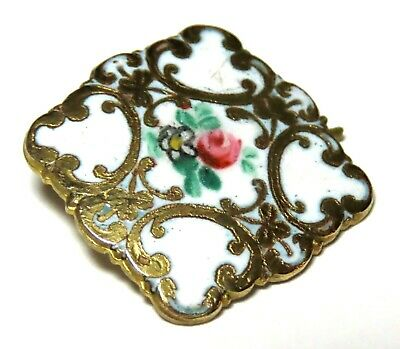 """ANTIQUE 1"""" GILT BRASS & WHITE CHAMPLEVE ENAMEL BUTTON w/HAND PAINTED FLOWERS"""