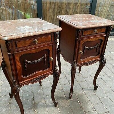 Antique French Louis XV Mahogany Marble Top Bedside Cabinets Matching Pair