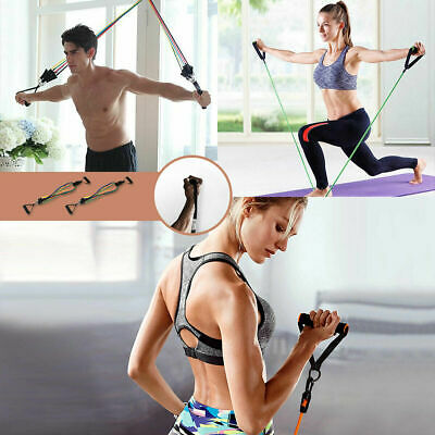 11PCS Resistance Exercise Band Set Yoga Pilates Abs Fitness Tube Workout Bands