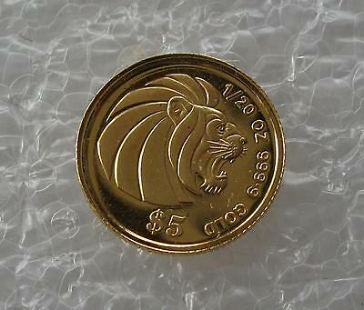 1988 China 5 Yuan 999 gold Panda coin 1990 Singapore $5 Dollars 9999 gold lion