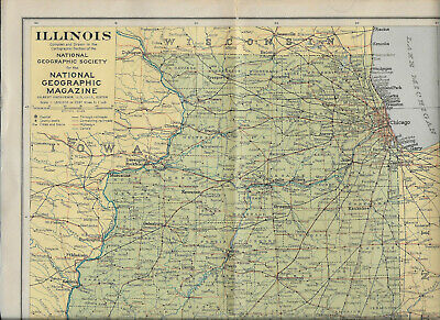 """1931, National Geographic, fold-out map state of ILLINOIS, 12"""" x 19"""""""