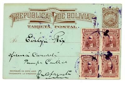 1913 Bolivia uprated postcard from Uyuni to Pampa Central Antofagasta Chile