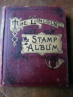 Old Lincoln Stamp Album Penny Black, 2d blue,1d reds,1,100+ early world Stamps
