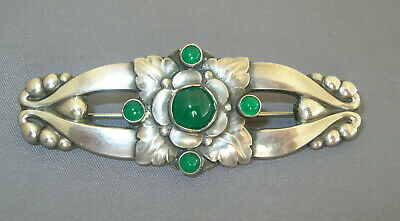 GEORG JENSEN Early Denmark Chrysoprase Sterling Silver Brooch Pin #99