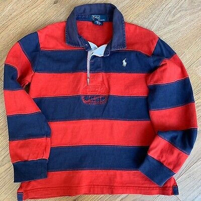 Boys Polo By Ralph Lauren Rugby Style Red And Navy Blue Top Aged 6