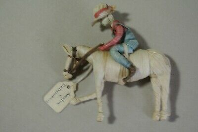 "Vintage Corn Husk Miniature Folk Art Horse & Man  Figure 4 1/2"" x 5"" by Amelia"