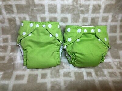 2 FuzziBunz Lime GREEN Cloth Diapers One Size Unisex