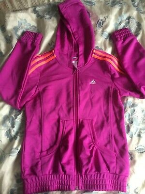 Adidas Jacket Age 11-12 Purple 3 Stripes Hooded Zip Up FAST POSTAGE