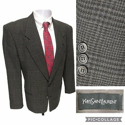 YSL Gray Plaid Check Blazer 44S Windowpane Yves Saint Laurent Worsted Wool