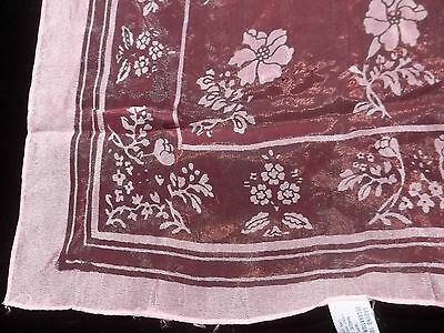 Vintage Sheer Pink w Light Pink Flowers Print Nylon Scarf Made in Japan SC06