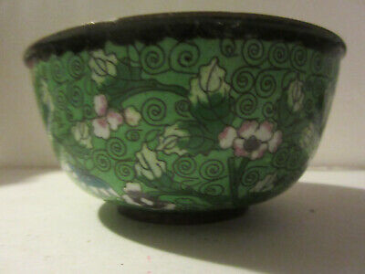"ANTIQUE CLOISONNE BOWL ~ 4.5""W Floral Theme Brass Even Patina China"