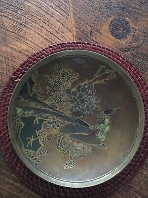 """Vintage Solid Brass Hand Painted Decortive Bowl Made In China 12"""""""