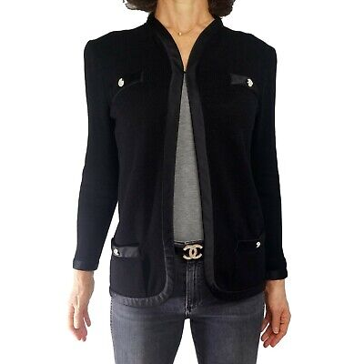 Vintage ST JOHN KNITS S* 4/6 Black Cardigan Blazer Jacket Satin Trim Iconic Top
