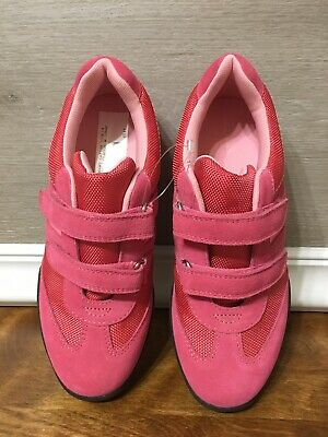 Lands End Girls Coral Pink Size 4 Sport Classic Strap Tennis Gym Athletic Shoes