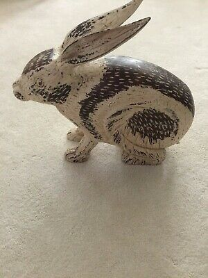 Vintage Carved Folk Art Rabbit Large Crackle Painted
