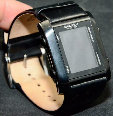 Kenneth Cole Reaction Mens Digital LCD Black Face Watch Leather Band