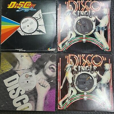 RARE Vintage 70's & 80's Disco Record Vinyl Lot Bundle of 4 Singles Disco 33RPM